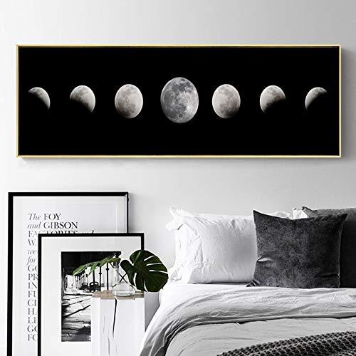Moda Cuadro de lienzo con estampado de fases lunares abstractas, póster de luna, imágenes artísticas de pared en blanco y negro para la decoración de la sala de estar, hogar y oficina 30x90cms
