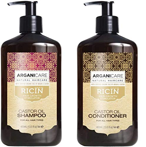 Duo Arganicare Shampooing accélérateur de croissance à l'huile de ricin Bio. 400ml + Arganicare Après shampooing Reconstructeur à l'huile de ricin Bio 400ml (Set de 2 Produits)
