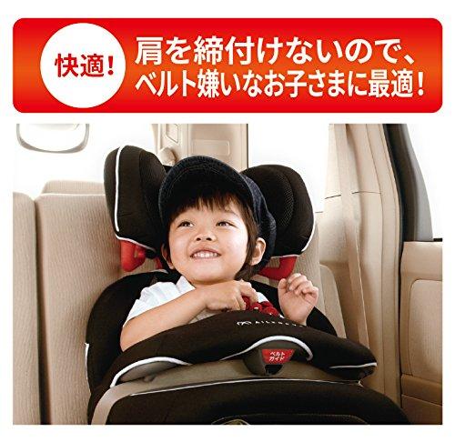 エールベベチャイルドシート1歳から使えるシートベルト固定サラットスリーステップクワトロSTブラック軽量・シンプルモデルALC246