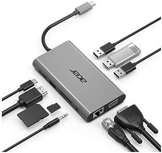 Acer 10-in-1 Mini Dock (USB Type-C naar 1x HDMI, 1x VGA, 1x RJ 45, 3x USB 3.0, 1x SD, 1x TF, 1x USB Type-C (w PD), 1x jack...