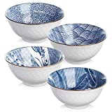 y yhy ceramic 24 ounces cereal or soup bowls, bowl set for salad and pasta, assorted blue white