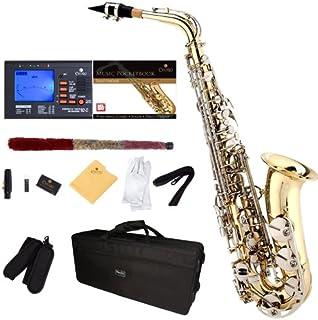 Mendini by Cecilio MAS-LN + 92D + PB Gold لاک و کلیدهای اندود شده نیکل E Flat Alto Saxophone با تیونر ، کیس ، دهانه ، 10 عدد ریش و بیشتر