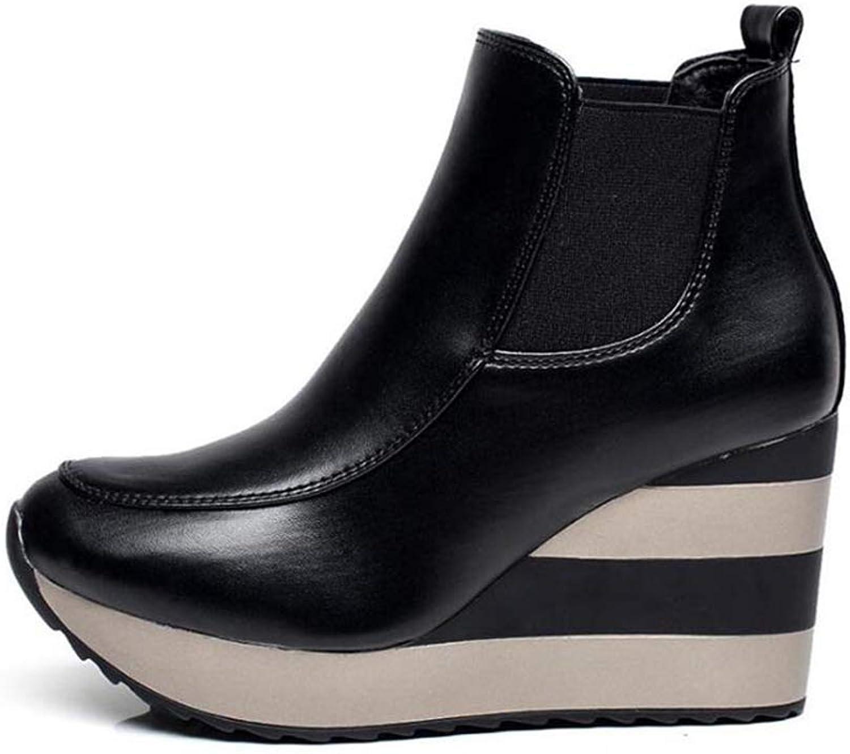 Women Winter High-Top Wedge High shoes Peep Toe Slip-On High Heels Platform Ankle Boots