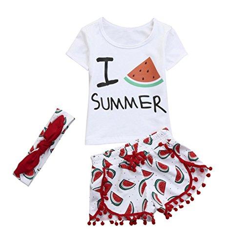 Babymomo 3pcs bébé Infantile bébé Filles Fruits vêtements Ensembles Tops + Shorts + Tenues de Bandeau (70, WH)