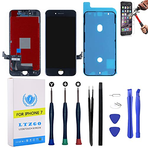 LTZGO Pantalla Táctil Compatible con iPhone 7 LCD Display Reemplazo Negro Digitalizador Táctil Vidrio con Herramientas, Adhesivo,Cristal Templado Destornilladores A1660, A1778, A1779