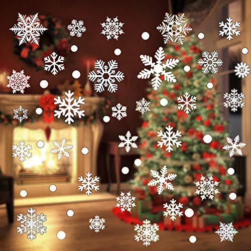 YOUYIKE 92 Pcs Copos de Nieve Pegatinas,Navidad Pegatinas de Ventana,Pegatinas de Copo de Nieve de Navidad, para Ventana,Escaparates Negocios,Hogar Interior (JD-92)