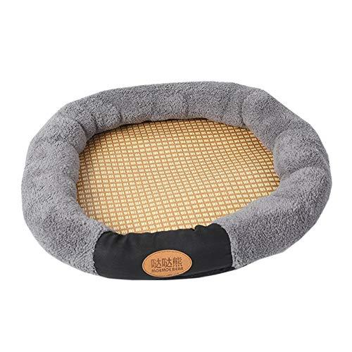 Aden Haustier Hundebett Hundekissen Runde Decke Matte Sommer Bambus Softe Plüsch Hundedecke Katzen Schlafplatz Hund Katzen