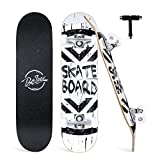 BELEEV Skateboards for Beginners, 31' x 8' Complete Skateboard for Kids Teens & Adults, 7 Layer Canadian Maple Double Kick Deck Concave...
