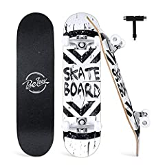 "🛹EASY TO GO: Our complete skateboard comes fully assembled, ready to ride out of the box and hit the streets. 31"" length x 8'' wide, make this board a blast to ride with plenty of room for your feet on top of the deck. Weighs only 4.7lbs, you can eas..."