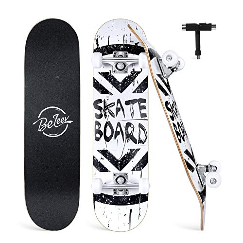 "BELEEV Skateboards for Beginners, 31"" x 8"" Complete Skateboard for Kids Teens & Adults, 7 Layer Canadian Maple Double Kick Deck Concave Cruiser Trick Skateboard for Girls & Boys (White)"
