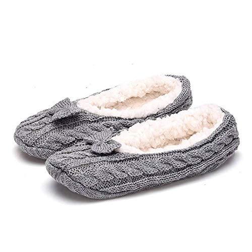 QHLJX Zapatillas de Lana de Punto CóModas para Mujer Calzado Interior Plano Antideslizante Suave, Diseño de Talón EláStico, Adecuado para Otoño e Invierno