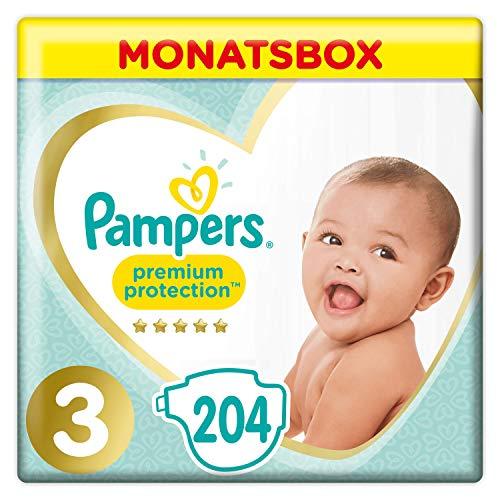 Pampers Premium Protection Windeln, Gr. 3, 6-10kg, Monatsbox (1 x 204 Windeln), Pampers Weichster Komfort Und Schutz