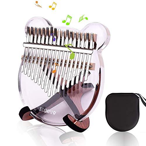 EiDevo Kalimba 17 Teclas Thumb Piano,Piano de Pulgar Portátil Transparencia,Música Finger Piano Percussion con Tuning Hammer,Feliz Cumpleaños de un Aficionado a La Música Infantil Pulgar Piano