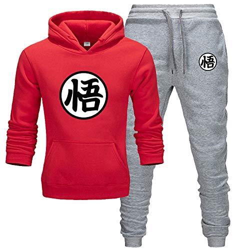 EMPERSTAR Conjunto de CháNdal Goku para Hombre y Mujer Traje Deportivo de Manga Larga para Correr Traje Deportivo con Capucha Traje Deportivo Superior e Inferior Loungewear Traje(Rojo + Gris,XXL)
