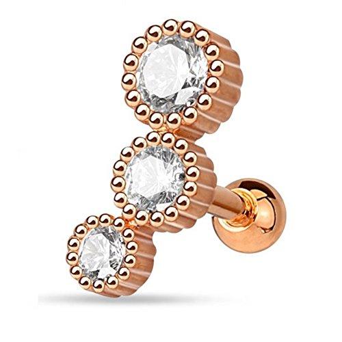 eeddoo Tragus-piercing oorsteker drievoudig roségoud roestvrij staal