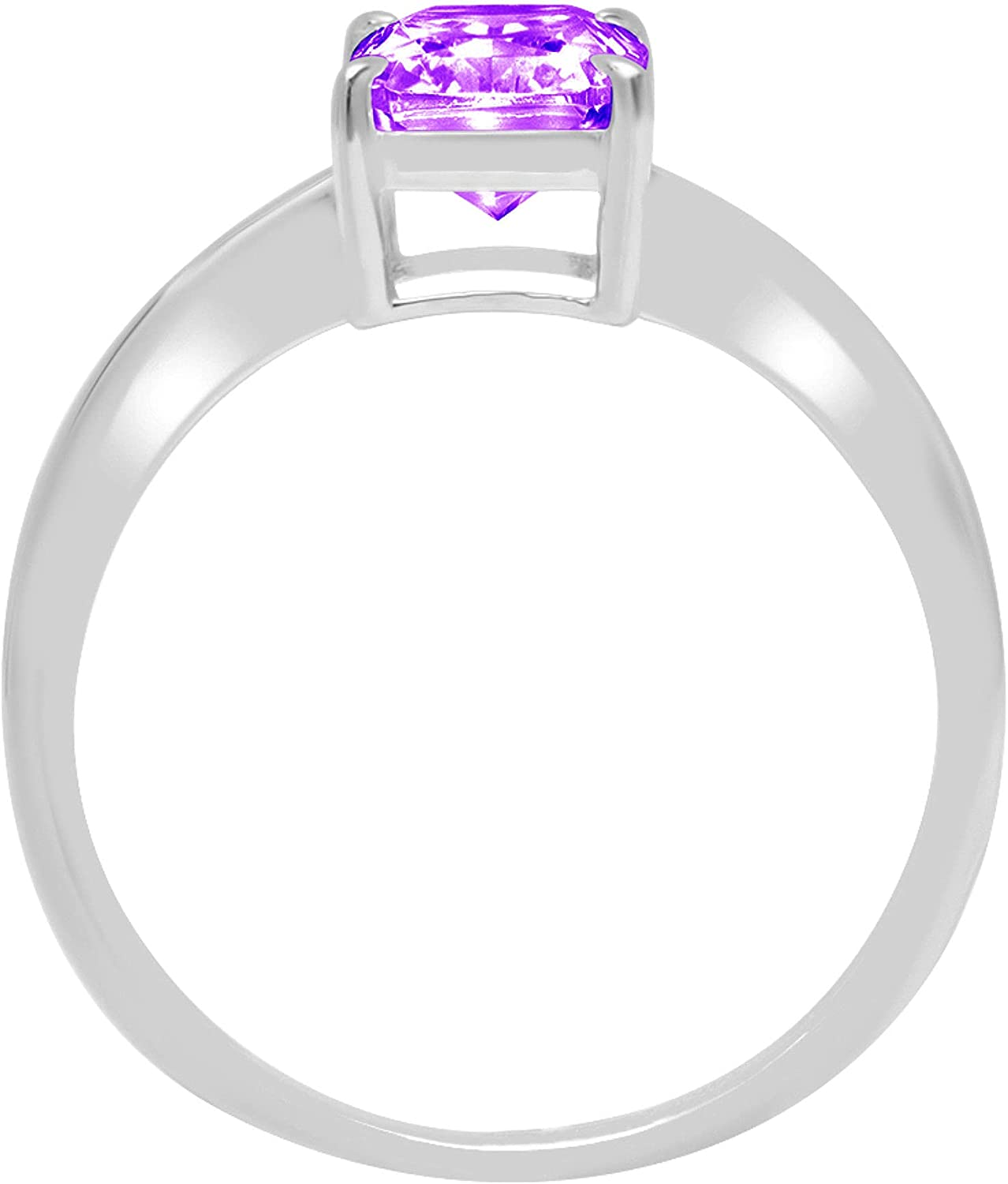 0.95ct Brilliant Radiant Cut Solitaire Natural Purple Amethyst Ideal VVS1 4-Prong Classic Designer Statement Ring Solid Real 14k White Gold for Women