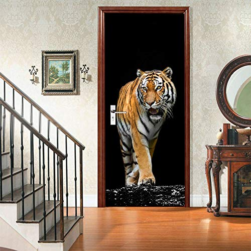 qingge 3D Tiger Door Sticker Refurbished Selbstklebender Schlafzimmer-Wandaufkleber