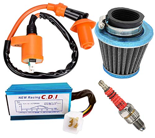 Racing Ignition Coil 5 Pins AC CDI Spark Plug Kit,39mm Air Filter Replacement for GY6 4-stroke Engines 50cc-150cc Scooter ATV Go Kart Moped Quad Pit Dirt Bike Cart 139QMB 152QMI 157QMJ