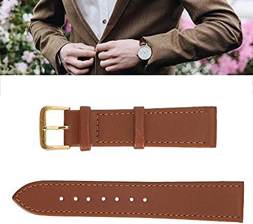 KANGNING Pin Hebilla Reloj Banda Conveniente Wear Weight Strap Durable para Ver el Uso Profesional para Uso General para el reemplazo-20mm marrón Well