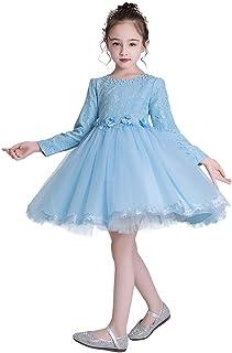 e-super Snow Queen Elsa Princess Girls' Short/Long Sleeve Tutu Dress Costume No Cape