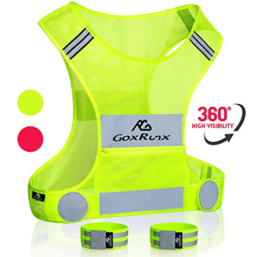 Reflective Running Vest Gear with Large Pocket & Adjustable Waist for Men Women,Ultralight & Comfy Reflective Vest for Walking Cycling, Safety Vest in 5 Sizes +2 Reflective Bands (Yellow, Medium)