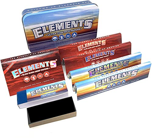 Reds Exclusive Elements Blue Tobacco Tin [Cigarette - Stash - Travel] Rolling Papers and Tips