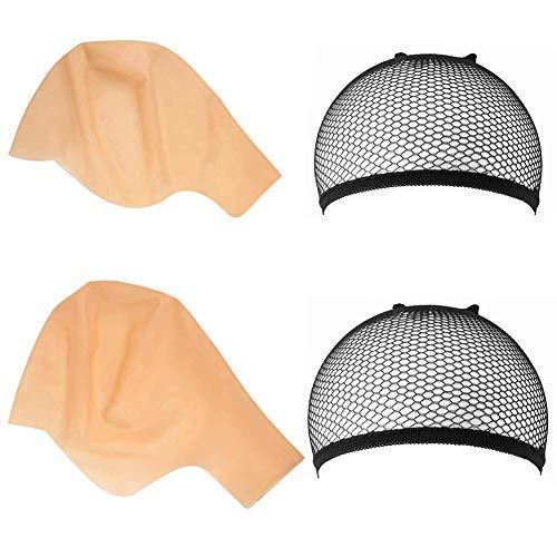 SINBLUE 4 gorras calvas de ltex para maquillaje de cabeza calva peluca Cap sombrero calvo accesorios de disfraz para adultos y nios