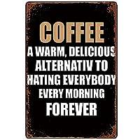 ブリキ メタル プレート サイン 2枚 無料のピンツリーコーヒー暖かい錫の金属の看板ウォールアート|カフェ/キッチン/コーヒーコーナー/コーヒーポット用の厚いブリキプリントポスター壁の装飾