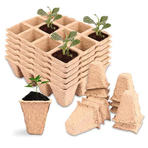 Herefun Bandeja de Cultivo de Semillas, 20 Piezas 12 Compartimentos Macetas Biodegradables Macetas de Turba Cuadradas, Bandeja de Plántulas para Planta Vivero Semillas, Verduras, Frutas, plántulas