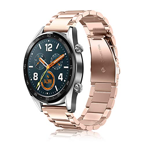 Fintie Armband kompatible mit Huawei Watch GT / Huawei Watch GT 2 46mm / Huawei Watch GT 2e / GT Active Smartwatch - Uhrenarmband Edelstahl Metall Ersatzband mit Doppelt Faltschließe, Roségold