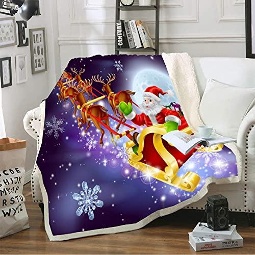 Manta De Peluche para Adultos, Diseño De Impresión 3D Tema De Navidad Alfombra De Anime, Premium Microfibra Suave Y Cálida Ropa De Cama Mullida Colorida (150X200Cm)