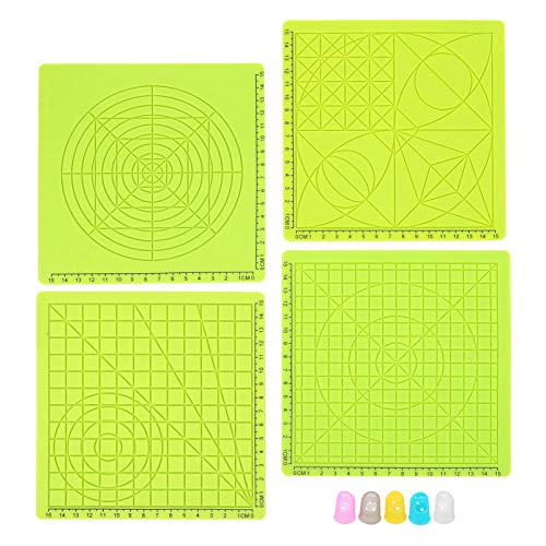 3D Printing Pens Mat, 3D Pen Pad Silicone Template, 4Pcs 3D Printing Pen Silicone Pad, Green Copy Board, Soft Mat Drawing Tool with Finger Caps