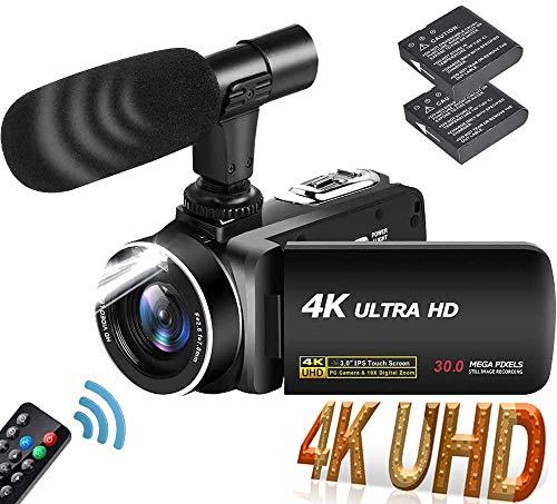 Videocámara 4K Cámara de Video Ultra HD 30MP 18X Zoom Digital Videocamara 3.0 Pulgadas Pantalla Táctil Giratoria Vlogging Cámara para Youtube con Micrófono, 2 Baterías, Luz De Relleno LED