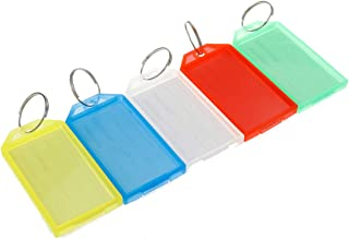 Bitray Tough Plastic Key Tags with Split Ring Transparent Clamshell Label Window Luggage Tag Key Ring Key Chain, 5 Colors ...