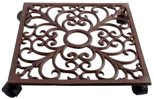 Esschert Design Pflanzenroller, Blumenroller aus Gusseisen, in Rostbraun, quadratisch, ca. 28 cm x 28 cm