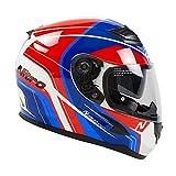 Nitro N2300 Pioneer Motorcycle Helmet - White, Blue, Red M