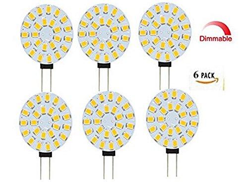 Best to Buy® Lot de 6 LED 4 W 12 V – 24 V AC/DC 24 x 5630SMD G4 Blanc chaud à intensité variable 120 ° rond a + +