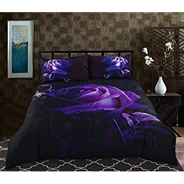 Alicemall Queen Size 3D Flower Purple Bedding Set Big Purple Rose with Dewdrop 5-Piece Polyester Black Comforter Sets, Floral Bedding Bedroom Duvet Cover Sets (Queen)