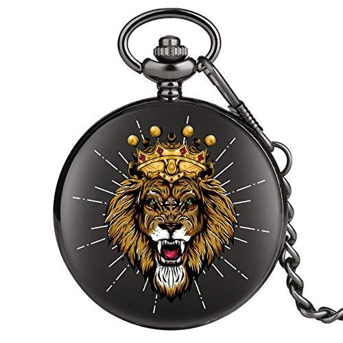 WOAIXI Retro Taschenuhr,Krone Löwe Design Punk Schwarz Tasche Uhr Quarzwerk Anhänger Uhr Antike Uhr Geschenke Männer Frauen, C
