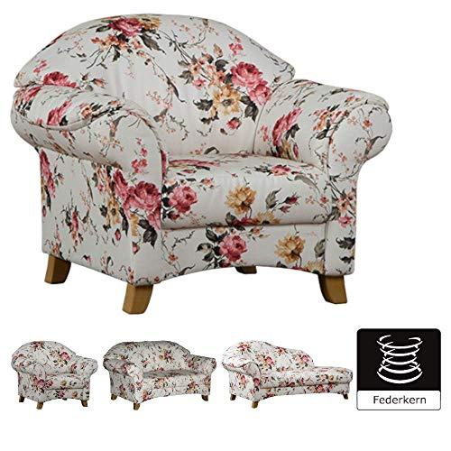 Cavadore Sessel Maifayr mit Federkern / Geblümter Polstersessel im Landhausstil mit Holzfüßen / 109 x 90 x 90 / Blumenmuster beige/rosa