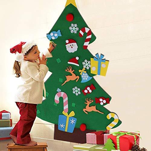 BAKAJI Albero di Natale per Bambini in Feltro da Parete con 26 Addobbi Natalizi Applicabili Altezza 125 cm Colore Verde