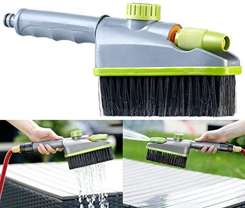 Royal Gardineer Bürste: 2in1-Hand-Waschbürste, Sprühfunktion, Gartenschlauch-Klick-Anschluss (Autobürste)