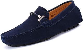 Fashion Men's Leather Shoes Leather Men's Shoes Driving Shoes Leather Men's Peas Shoes Men's Boots (Color : Dark Blue, Size : 45)