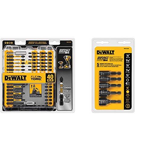 DEWALT Screwdriver Bit Set, Impact Ready, FlexTorq, 40-Piece (DWA2T40IR) & Nut Driver Set, Impact Ready, Magnetic, 5-Piece (DW2235IR)