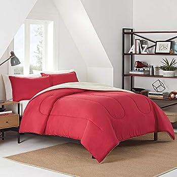 IZOD Solid Comforter Set Full/Queen Red
