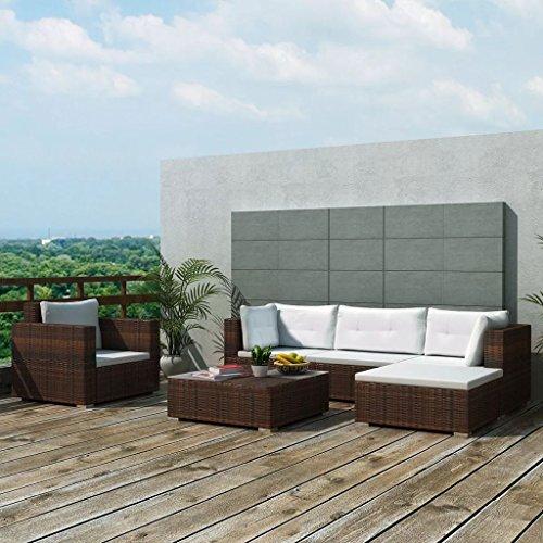 Weilandeal tuinmeubelset, 17-delig, polyrotan, bruin, set van roestvrij staal, afmetingen van de hoekbank (B x D x H): 70 x 70 x 52,5 cm