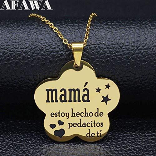 Zzx Mamá Cadenas de Acero Inoxidable Collar para Mujeres Negro Esmalte Declaración Collar Joyería Dia de la Madre Día de la Madre Regalo Mamá Hija Cadena de Acero Inoxidable