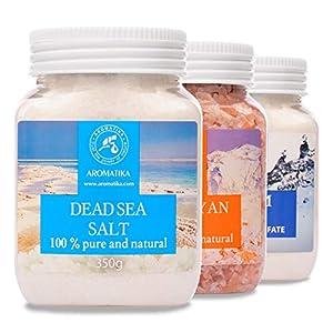 Set de Sales de Baño - Sal Epsom - Sal Rosa del Himalaya - Sal del Mar Muerto - 100% Puro y Natural - Cuidado del Cuerpo - Lo mejor para un Buen Sueño - Belleza - Baño - Bienestar - Aromaterapia