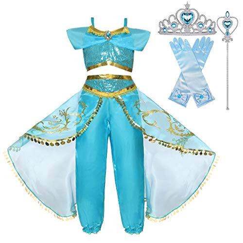 Nia Aladdin Princesa Jasmine Disfraz Tops Pantalones Manga Corta Traje Cosplay Actuacin Carnaval Navidad Regalo Cumpleaos Danza Vientre Vestido de Princesa Bastones, Trenzas, Guantes 3-10Aos
