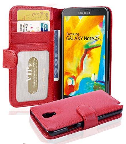Cadorabo Hülle für Samsung Galaxy Note 3 NEO - Hülle in Inferno ROT – Handyhülle mit 3 Kartenfächern - Hülle Cover Schutzhülle Etui Tasche Book Klapp Style